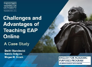 Presentation title slide: Challenges and Advantages of Teaching EAP Online